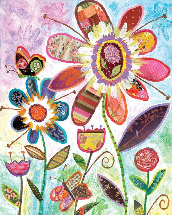 Wild Garden Flowers and Butterfly Collage art by Lori Siebert, Whimsical, Collage, Colorful, Patterned, Lori Seibert, WG