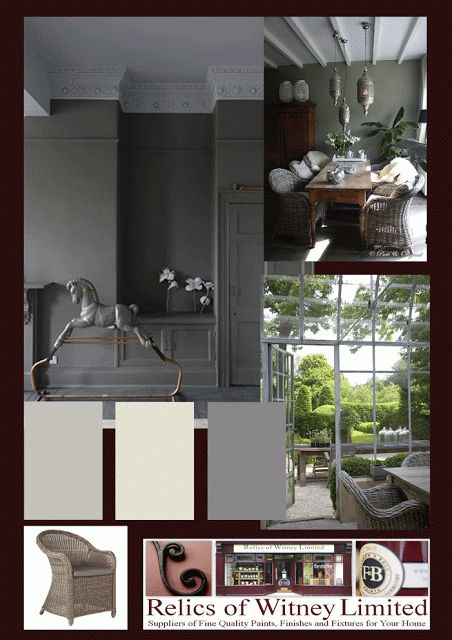 Farrow and Ball Moles' Breath mood board from Relics Of Witney blog