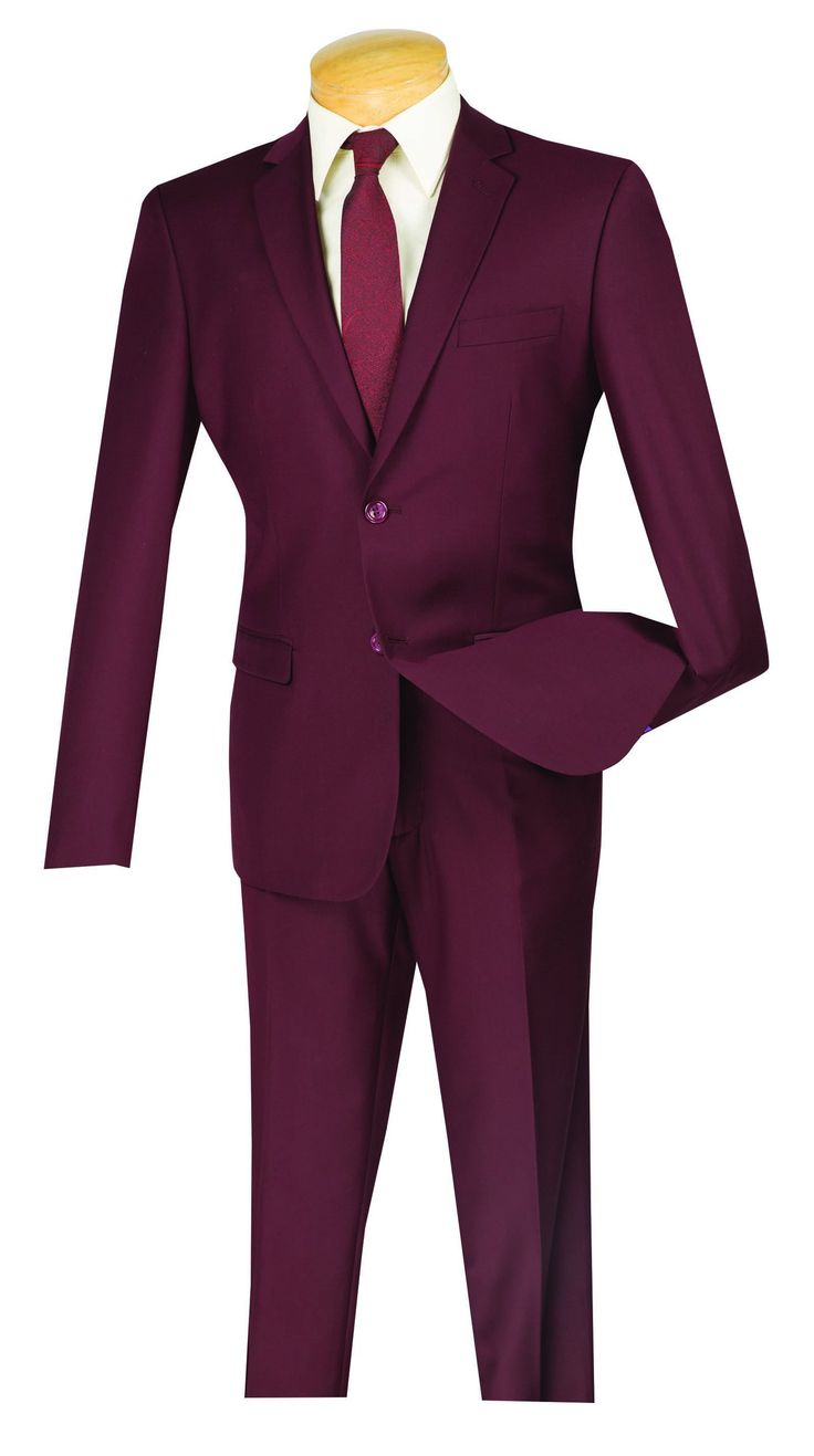 Solid Burgundy Ultra Slim Fit Men's Business Suit