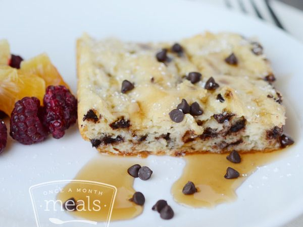 Chocolate Chip Buttermilk Pancake Squares | OAMC from Once A Month Meals | Freezer Meals