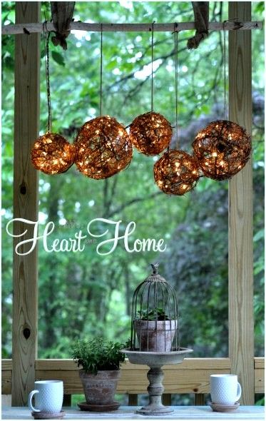 Grapevine orb outdoor chandelier, by All Things Heart and Home, featured on I Love That Junk - what beautiful patio lanterns this would make!