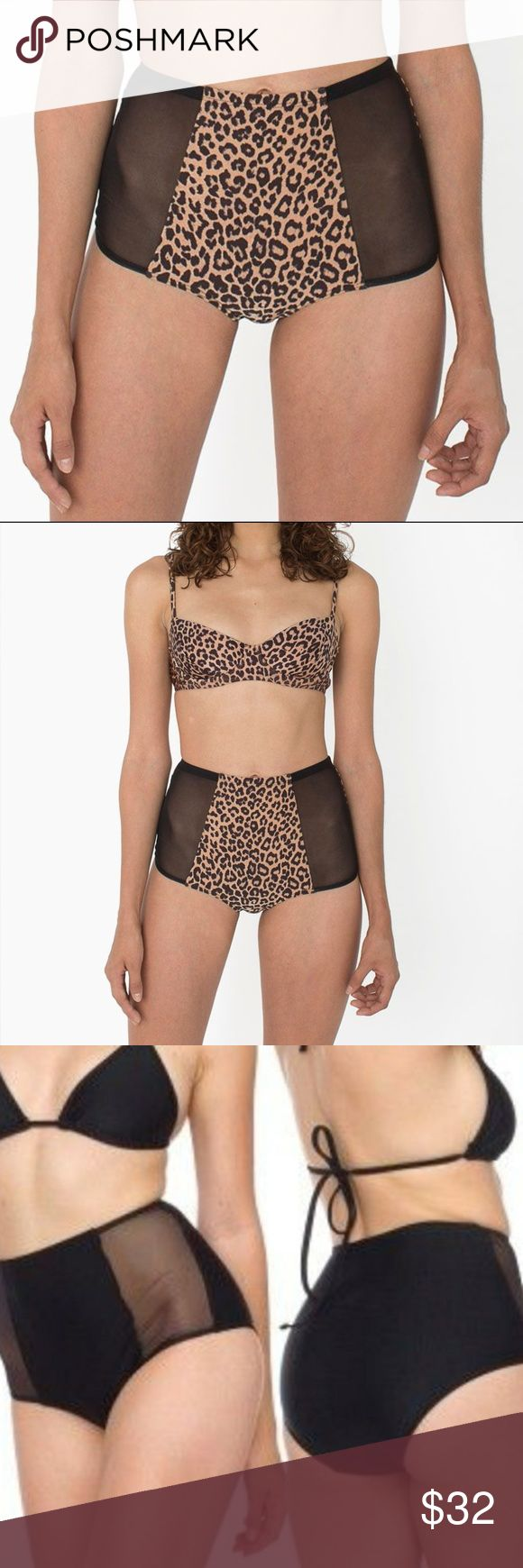NEW AA Swim Mesh Panel High Waist Bikini Bottoms Perfect AA swim bottoms in a leopard /cheetah / animal print. High waist and lower cut leg openings with sheer accents. The back is solid fabric with no mesh. New in the factory bag. I have red, blue, and black in multiple sizes as well.   Mix and match swim from my closet with no hassle using the Bundle tool- 20% off 2 or more items is applied automatically. American Apparel Swim Bikinis
