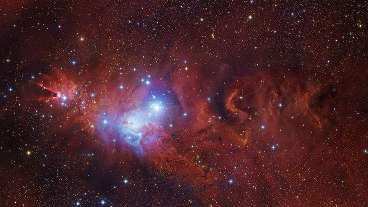 Proximidades de la Nebulosa del Cono (A la izquierda de la imagen). La estrella mas brillante del centro es S. Mon y justo debajo se ve la Nebulosa de la Piel de Zorra. Fotografia by Subaru Telescope.