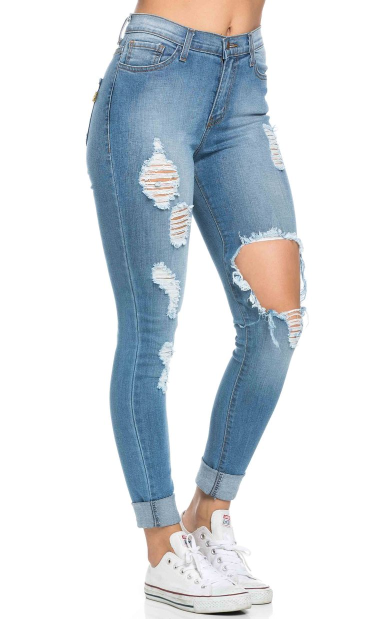 High Waisted Distressed Skinny Jeans in Blue (Plus Sizes Available) 11