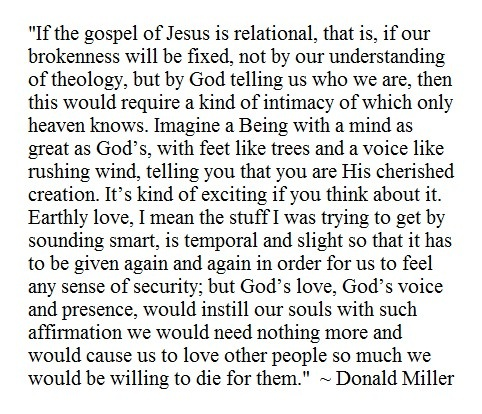 Imagine a Being with a mind as great as God's, with feet like trees and a voice like rushing wind, telling you that you are His cherished creation. (Donald Miller)