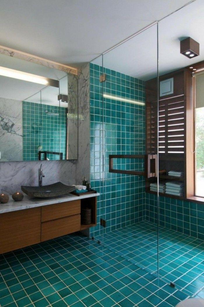 salle de bain turquoise grand miroir cabine de douche tagre en bois - Salle De Bain Turquoise Et Bois