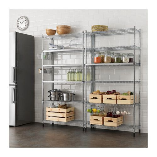 IKEA - OMAR, 2 section shelving unit, Easy to assemble – no tools required.Adjustable shelves make it simple for you to adjust the space to suit your needs.With the cover for shelf, the wire shelf gets an even and stable bottom where you can put small things.The connection fixture gives you greater stability if you want to connect several shelf sections or shelving units to create a larger storage solution.With the clip-on basket you can transform an unused area into a practical storage…