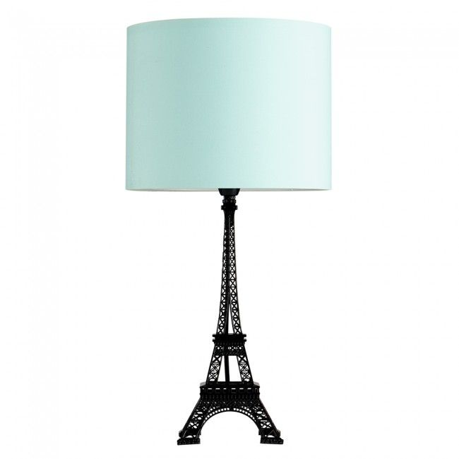 Eiffel Tower Black Table Lamp with Black Drum Shade