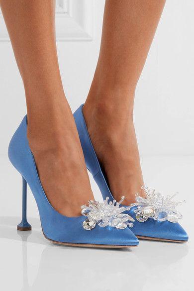 Miu Miu - Embellished Satin Pumps - Blue - IT37.5