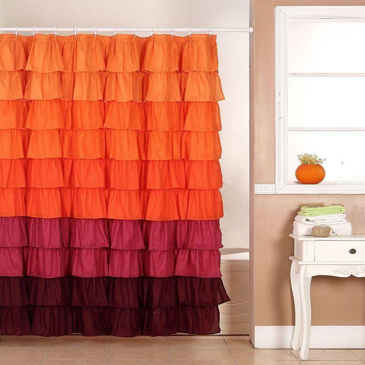 Portsmouth Home Harvest Ruffle Shower Curtain, Orange