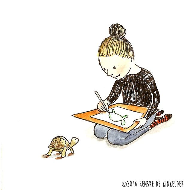 One of my best and surprisingly not so patient models is Mr. the Tortoise. Watercolor and micron pen. Renske de Kinkelder