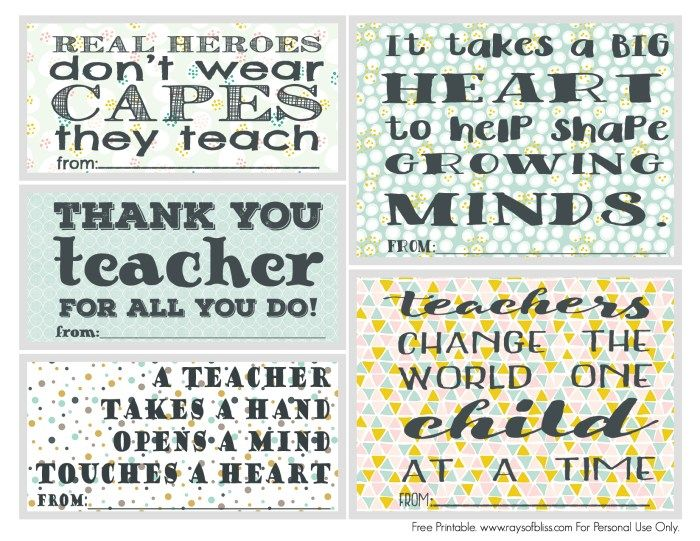 photograph regarding Free Printable Teacher Appreciation Quotes named Free of charge Printable Mounted of 5 Instructor Appreciation Notes - Great