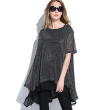 Yenilik Artı Boyutu Kadın Şifon Vestidos Elbise 3XL Büyük Büyük Boy Siyah Bayanlar Payetli Yaz Elbiseler Gevşek 2XL Lady Giyim(China (Mainland))