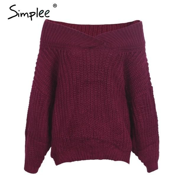 Simplee Off shoulder v neck pullover sweater Women autumn winter long sleeve thick sweater Sexy black knitting sweater jumper