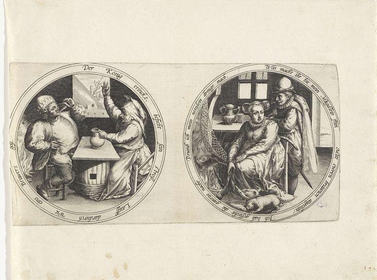 Anonymous | Driekoningenfeest en een netdroogster, Anonymous, 1555 - 1631 | Twee medaillons met een dubbelzinnig randschrift in het Duits. Op het linker medaillon een voorstelling van het driekoningenfeest. Een man en een vrouw aan een geïmproviseerde tafel in een interieur met een brandend haardvuur. De man draagt een kroon en drinkt uit een glas. De vrouw tegenover hem heft haar arm in een waarschuwend gebaar en houdt met haar linkerhand een kruik vast. In de verte ligt een boerderij. Op…