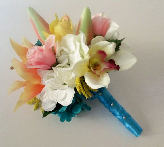 Tropical Wedding Bouquet Lily Bouquet Beach by shannonkristina, $85.00