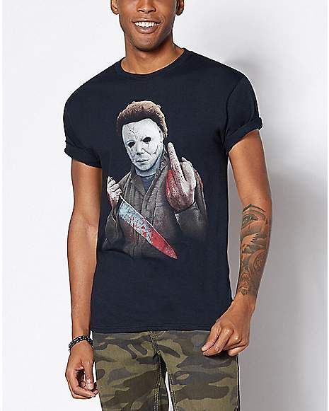 ca6a9707 Middle Finger Michael Myers T Shirt - Halloween - Spencer's ...