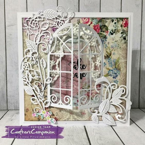 Card made using Crafter's Companion Die'sire Classiques Dies – Cottage Window. Designed by Linda Fitzsimmons #crafterscompanion
