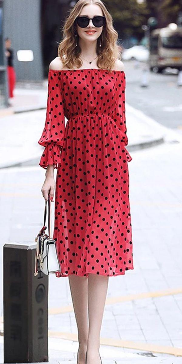 Red Polka Dot Elatic Cover Dress