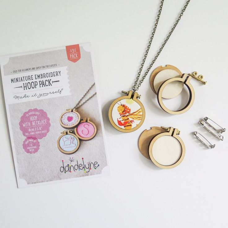 1.6 Mini Embroidery Hoop Necklace and Brooch Kit (3 Pack)