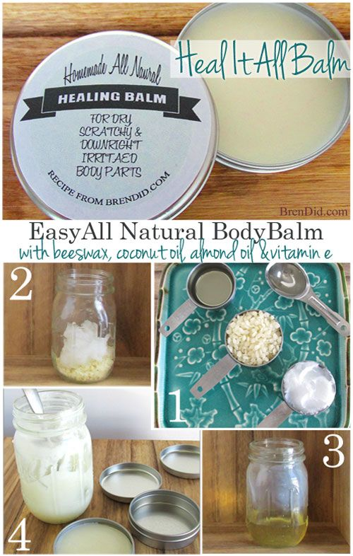 Must try for dry cuticles, lips, elbows, knees and more! DIY body balm, safe for your whole body. Heals dry winter skin. Great for swimmers Easy instructions at BrenDid.com