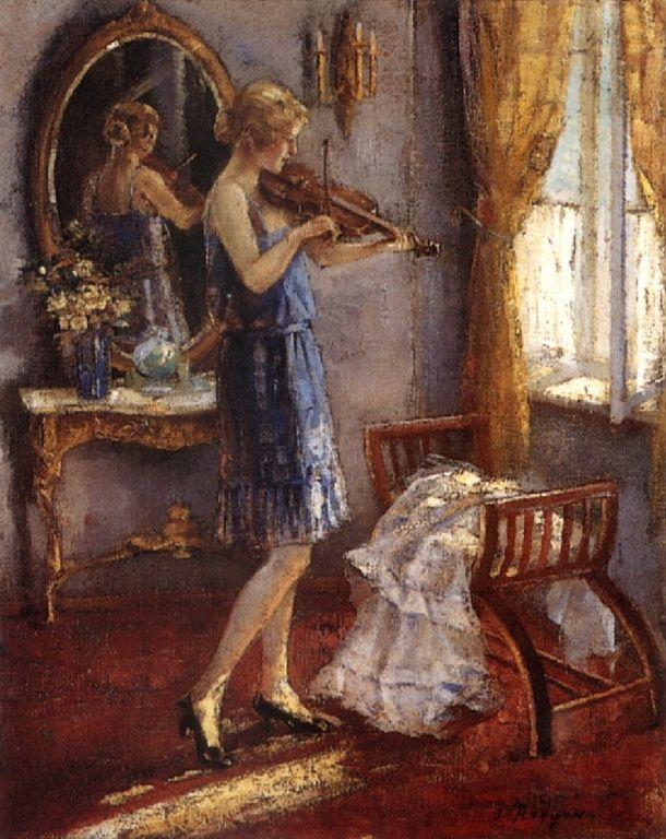 Αργυρός Ουμβέρτος-Γυναίκα που παιζει βιολί