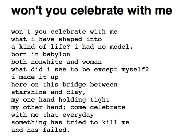 won't you celebrate with me, Lucille Clifton (1991) International women's day!