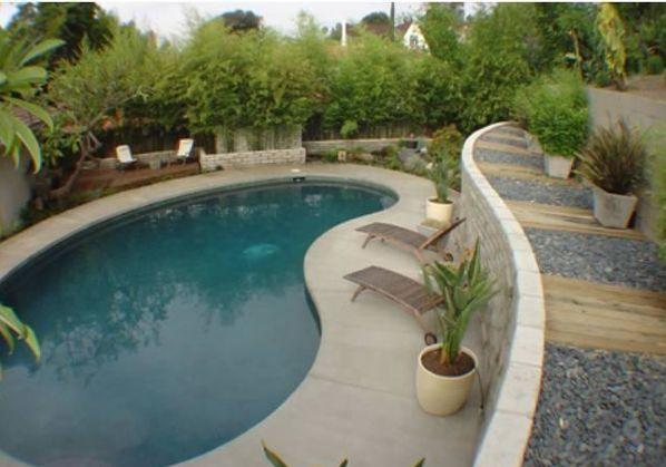 modern kidney pool, flat coping and dark pool paint // los feliz