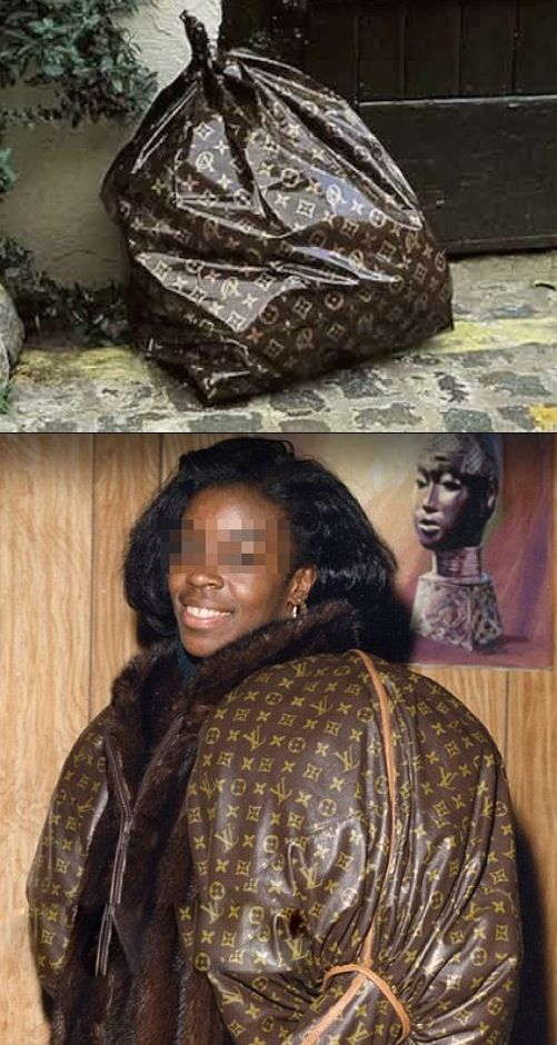 Louis Vuitton Coat or Trash Bag? No Way Girl - Nailed It - Garbage Fashion Fail  ---- best hilarious jokes funny pictures walmart humor fail