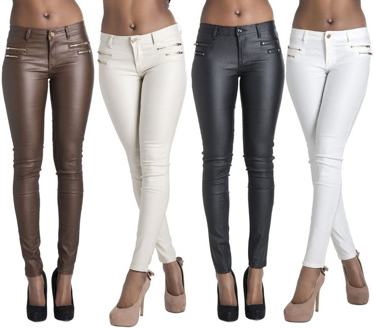 Ladies Women Faux Leather Leggings Wet Look Trousers Slim Fit Jeans Size 6-14