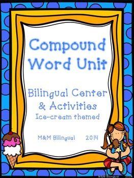 "Amazing SPANISH compound word bundle for Bilingual/Dual Language students. 35 page packet  includes:* Teacher Suggestions on using each activity* Palabras Compuestas - Tabla de Anclaje* Palabras Compuestas - Lista* Plegable de Palabras Compuestas * Tarjetas de rompecabeza de Palabras Compuestas para utilizar en un centro de lectura* Hoja para apuntar * Hojas con Palabras Compuestas para escribir en ""shapeboxes""* Actividad - Leyendo Palabras Compuestas* Bingo de Palabras Compuestas Please…"