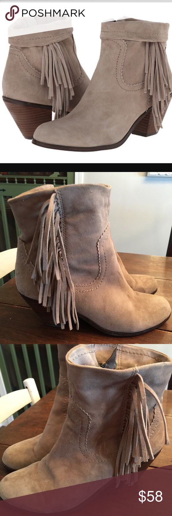 Sam Edelman Suede fringe Louie booties tan putty Sam Edelman Louie booties in putty, Beige. These are very lightly worn, soft Suede. Perfect neutral boot. Size 7.5 Sam Edelman Shoes Ankle Boots & Booties