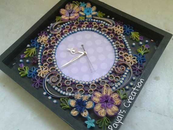 Handmade clock with quilling art by NeedsWeFeed on Etsy