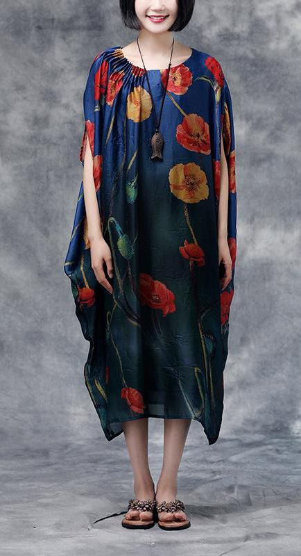 e9217070a4 Loose silk Tunics Boho Summer Floral Casual Pocket Long Dress in ...