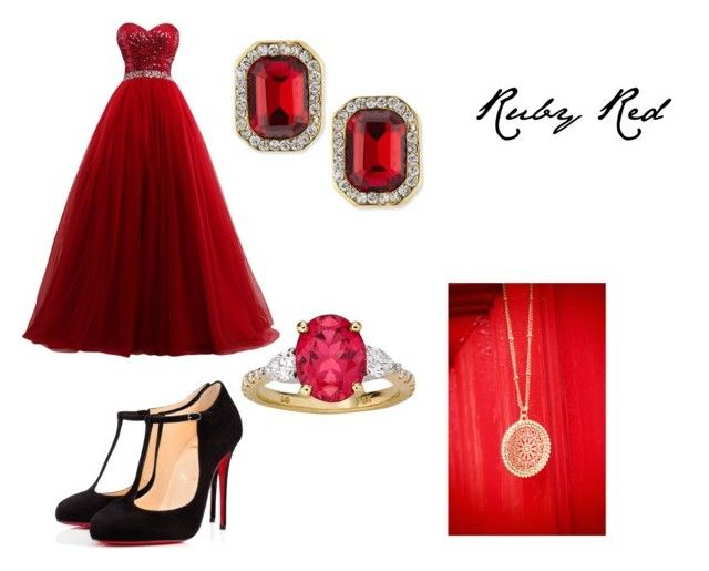"""Ruby Red"" by mary-minge on Polyvore featuring Christian Louboutin and Kenneth Jay Lane"