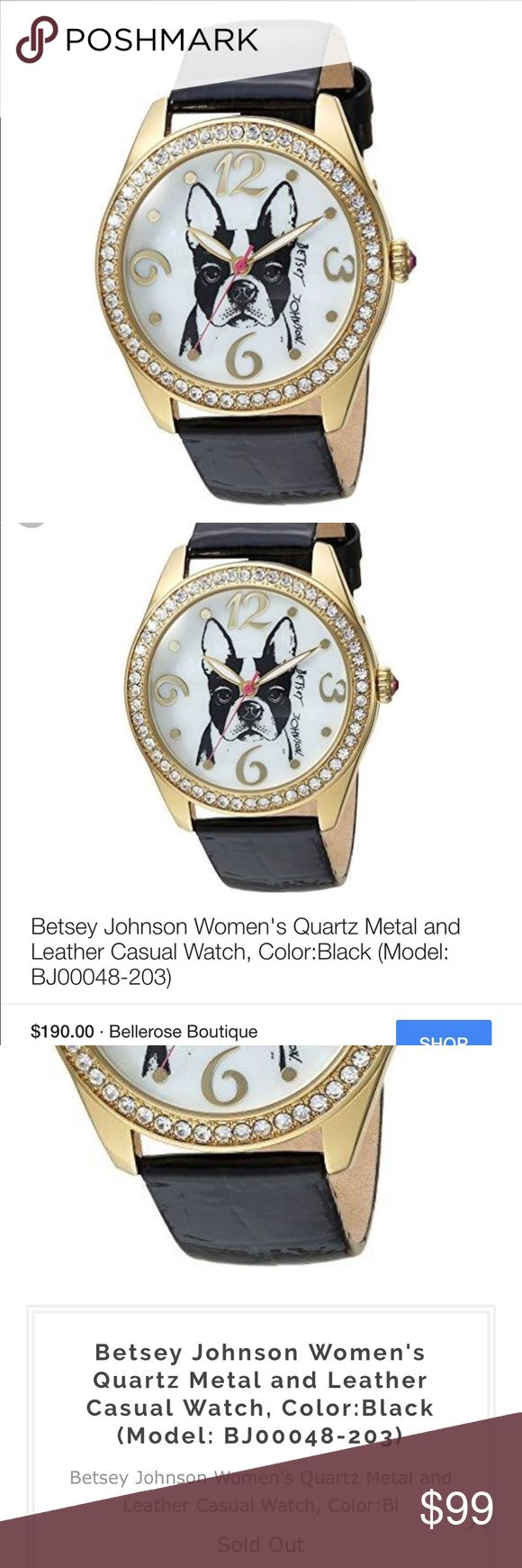 Betsey Johnson bulldog watch Super cute Betsey Johnson French bulldog watch  -brand new with tags in box  -genuine leather band -water resistant  -stainless steel backing so it is hypoallergenic -working battery  -no trades or holds please -same or next day shipping -no lowballing please  -sold out online Betsey Johnson Accessories Watches