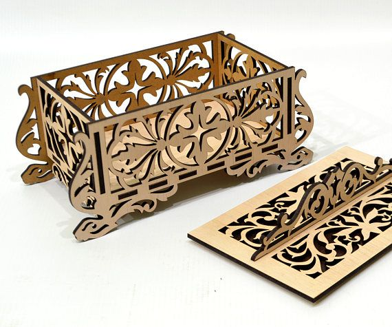 Thank you for visiting our store. For sale is Wooden casket for jewelry - v2 (Laser cut vector model only). Set of 1 patterns: Create of plywood 3,2 mm (1/8 inch.) - - Laser cut vector model Digital product includes AI, EPS, CDR, SVG, DFX files. - DIMENSION- plywood 1/8 inch. (3,2 mm)