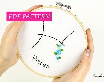 PESCI PDF pattern, decorazione segno zodiacale da appendere, tutorial con foto, fai da te, ricamo ad ago rose e foglie, astrologia, facile