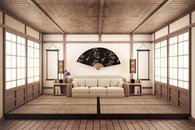 Luxury Zen Style Living Room 3d Rednering In 2020 Zen Style Room Tatami Room