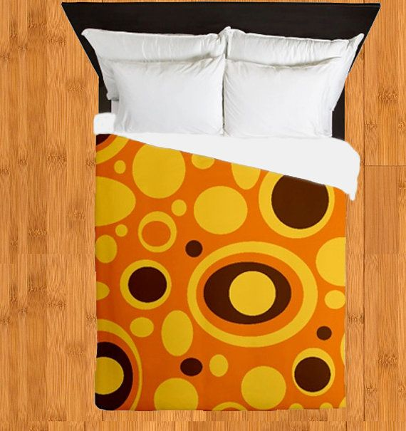 Modern Duvet Cover- Orange & Brown Duvet Cover