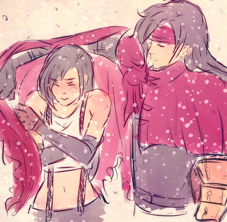Vincent Valentine keeping Tifa Lockhart warm. Awww! | Vincent x Tifa | Gaea's Cliff | Final Fantasy VII