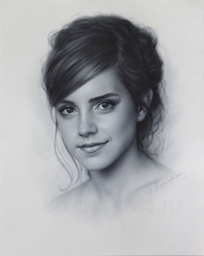 Emma Watson drawing portrait by DRY BRUSH by Drawing-Portraits...