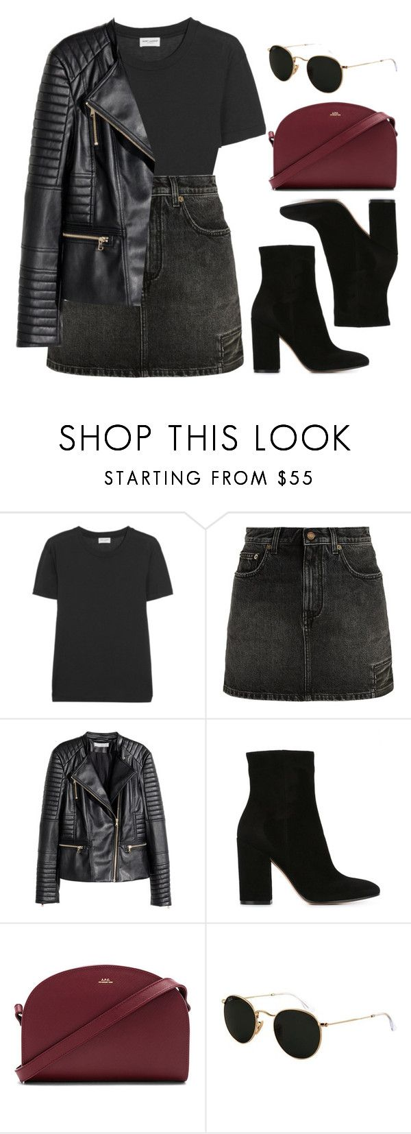 """""""Denim Skirt"""" by vany-alvarado ❤ liked on Polyvore featuring Yves Saint Laurent, H&M, Gianvito Rossi, A.P.C. and Ray-Ban"""