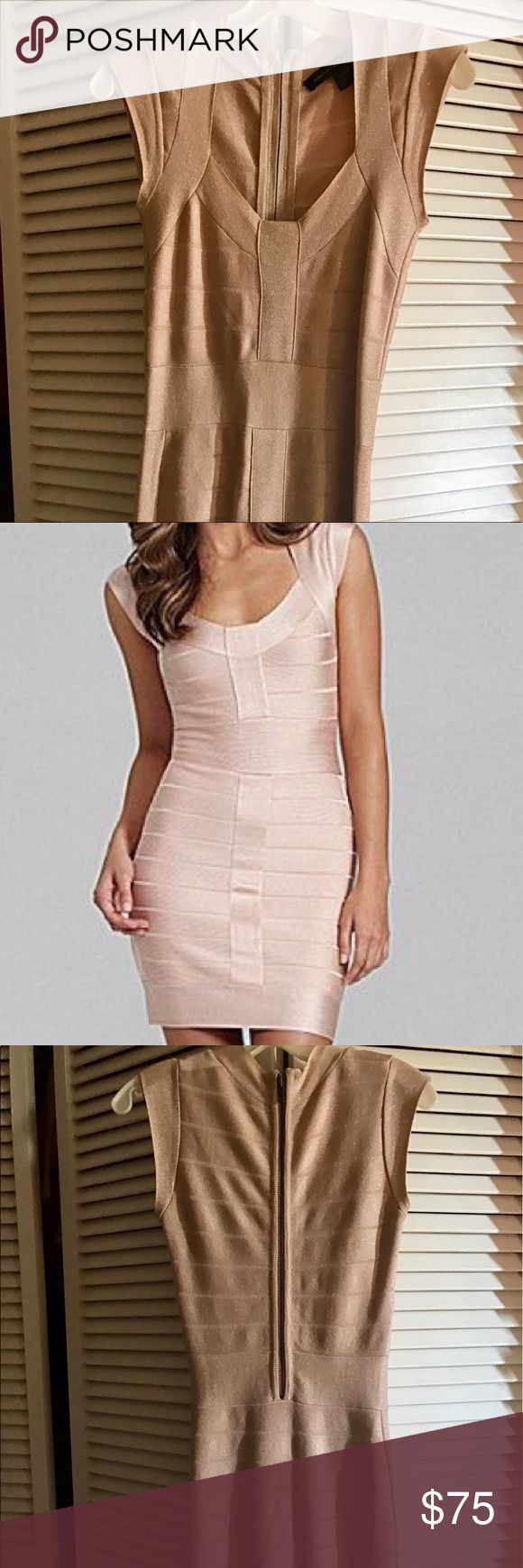 French Connection Pink & Gold Bandage Dress Size 0 The perfect outfit for a night out is this French Connection Pink, Gold and Nude shimmer bandage dress that has only been worn once. Dress it up or dress it down, it's a look that's sure to be the best at the party! French Connection Dresses Strapless