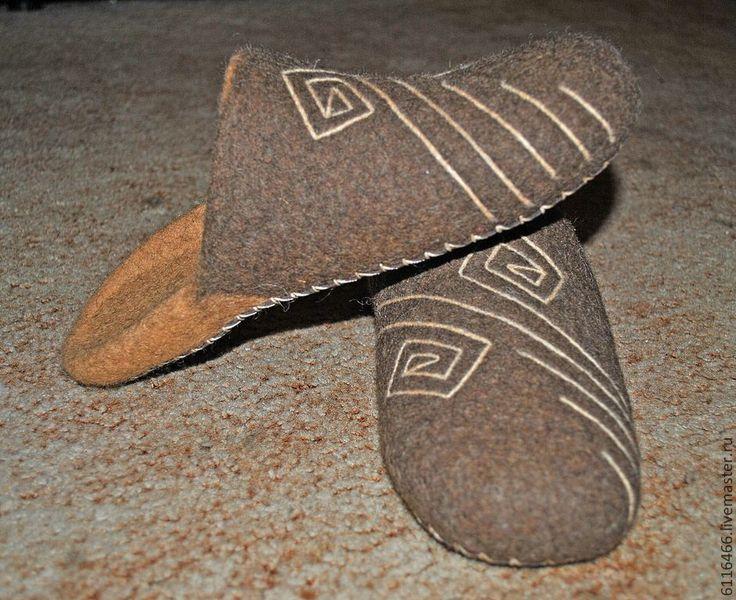 Домашние валяные тапочки из натуральной шерсти Орнамент - коричневый, тапочки, тапочки домашние