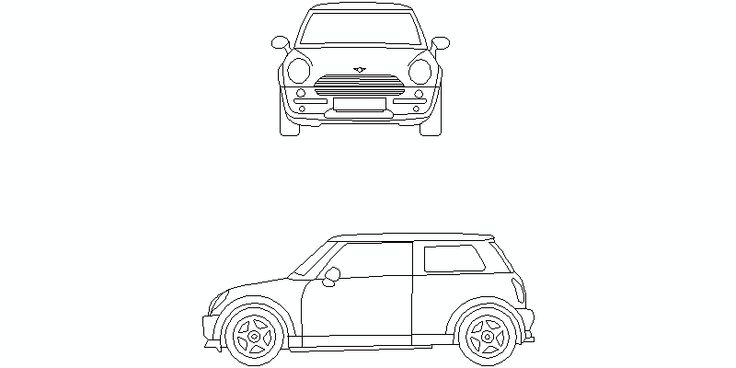 Nuevo Mini Cooper en alzado lateral y frontal