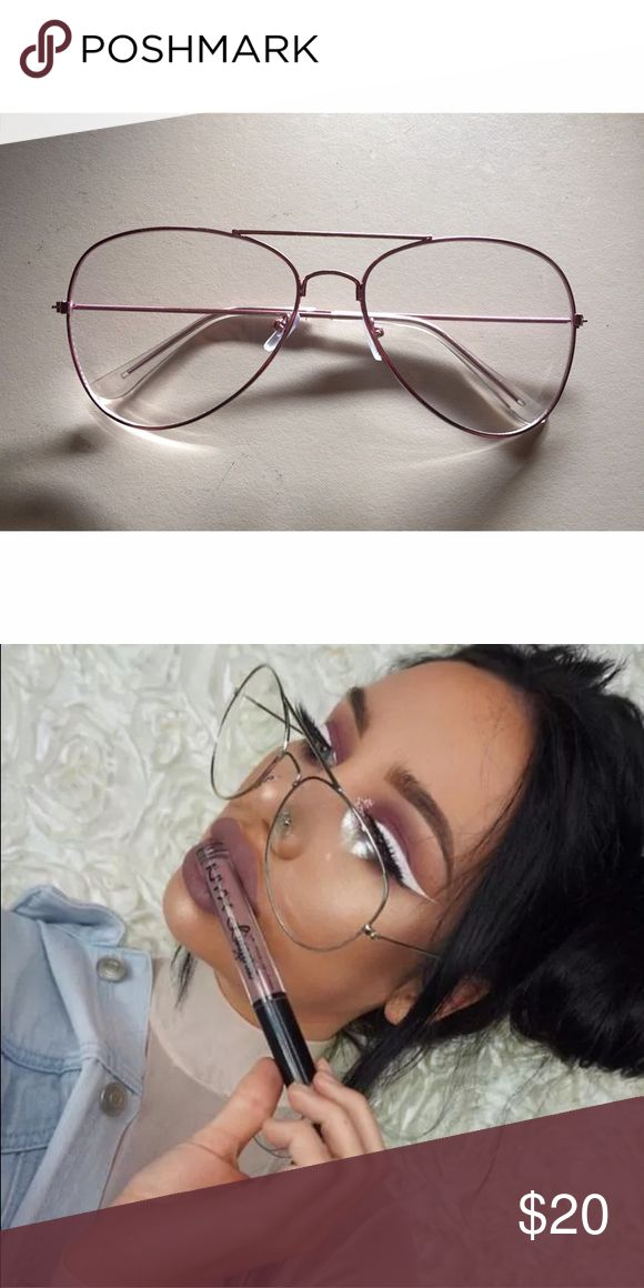 Pink Metal Frame Clear Retro Aviator Glasses Brand new, never worn! Pink metal frame glasses. Super cute! Not by brand listed. Topshop Accessories Glasses
