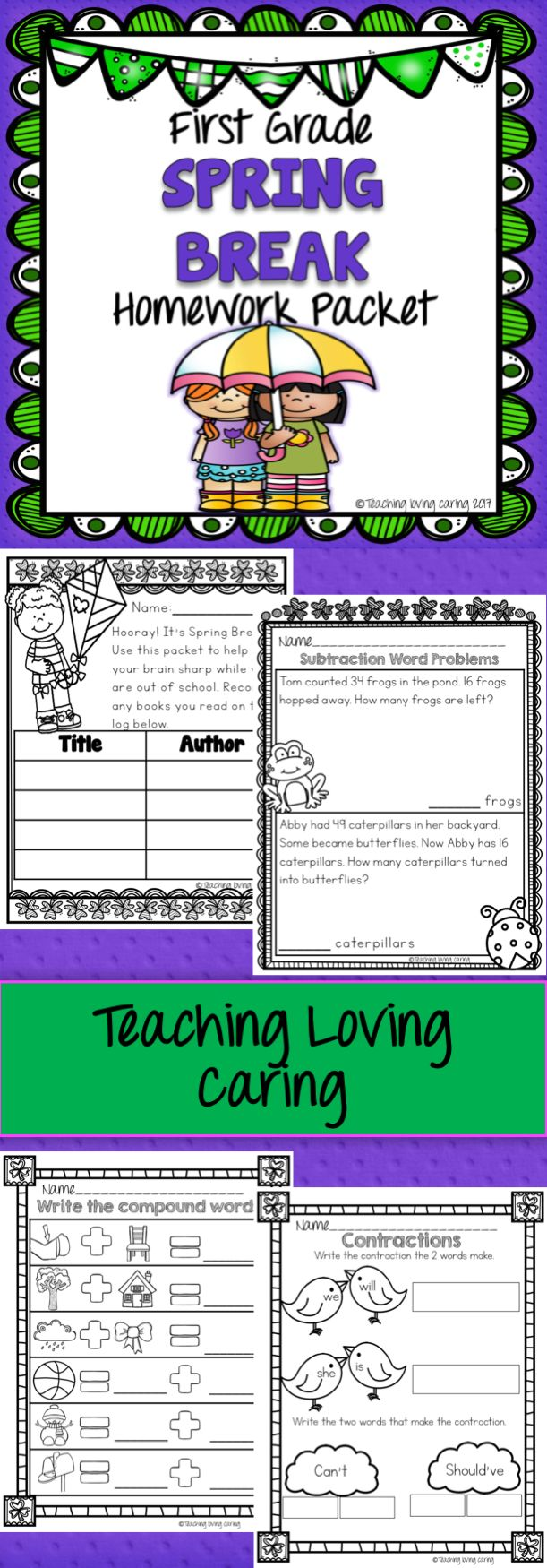 Make sure your first graders are growing their brains over Spring Break with this fun home learning packet!  Topics Included: Counting to 120 Place Value 100 More/Less Addition and Word Problems Subtraction and Word Problems Geometry Synonyms and Antonyms Contractions Compound Words Bossy R Spelling  Sentence Writing  No Prep!   Includes an optional cover page with reading log!