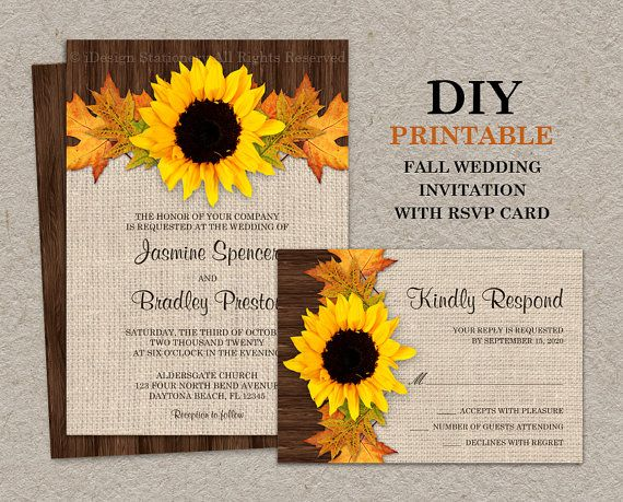 Fall Sunflower Wedding Invitations With RSVP by iDesignStationery, $19.95