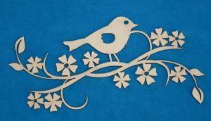 A 2 Z Scraplets - Floralette - Bird 10 chipboard